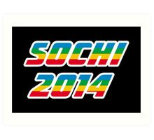 Sochi 2014 Rainbow Text Art Print