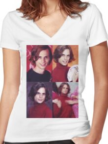 matthew gray gubler in a turtleneck Women's Fitted V-Neck T-Shirt