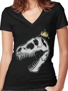 Dinosaur Royalty Women's Fitted V-Neck T-Shirt