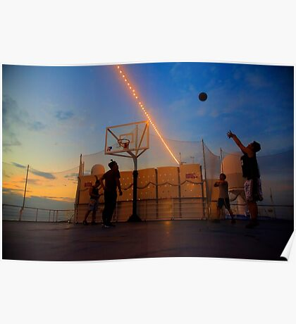 Playing Basketball in the Sunset Poster