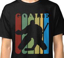 Retro 1970s Style Hockey Goalie Silhouette T Shirt Goalie Hockey Sport  Classic T-Shirt
