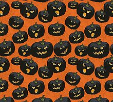 Halloween black spooky Pumpkin pattern by Tatiakost