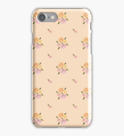 Sweet Roses on a Peach Background (Smaller Roses) ~ Handpainted Watercolor Flowers iPhone Case/Skin