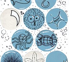 Cute Sea Animals Floating in Bubbles by Nalinne Jones