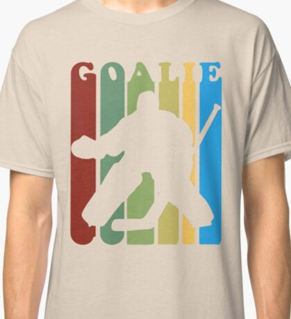 Retro 1970s Style Hockey Goalie Silhouette T-Shirt Goalie Hockey Sport  Classic T-Shirt