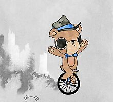 Unicycle Bear by Quincy Lim