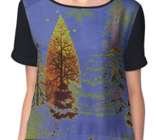 Blue Sky, Snowflakes and Trees Chiffon Top