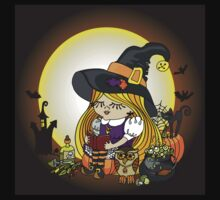 Halloween.Witch girl reading book Kids Clothes