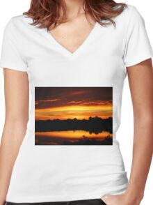 Sunset Over League City Texas Women's Fitted V-Neck T-Shirt