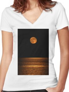 Harvest Moon Over Clear Lake Women's Fitted V-Neck T-Shirt
