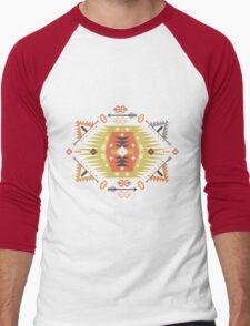 Ornamental round geometric native style pattern Men's Baseball ¾ T-Shirt
