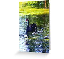 Another Swan & Her Cygnets Greeting Card