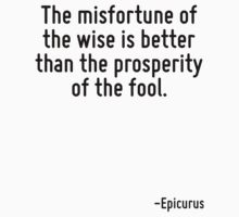 The misfortune of the wise is better than the prosperity of the fool. by Quotr