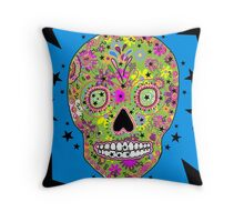 Hipster sugar skull psychedelic art Throw Pillow