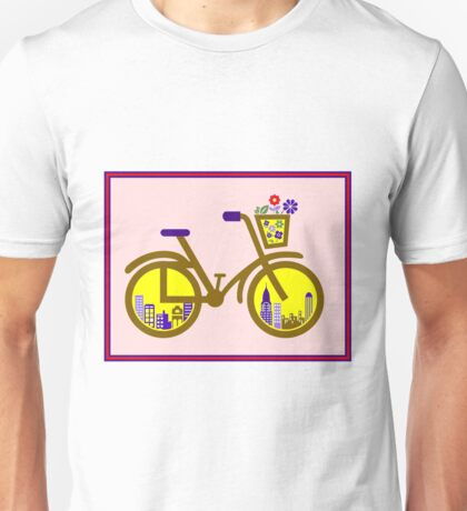 ABSTRACT BICYCLE; With Flower Basket Print Unisex T-Shirt