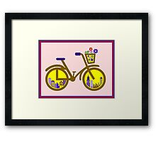 ABSTRACT BICYCLE; With Flower Basket Print Framed Print