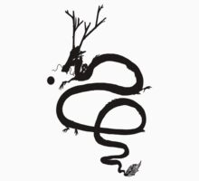 Ink Black Dragon [Transparent, Blank] Kids Clothes