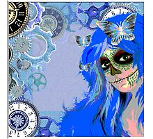 Hipster goth girl skull design by LeahG  Photographic Print
