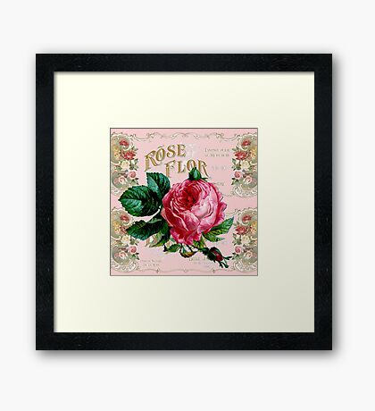 Vintage Paris Rose Framed Print