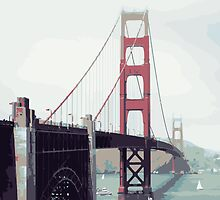 Golden Gate Watercolor Art by 83oranges