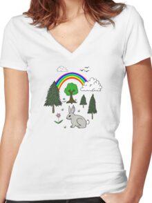 Nature Scene Women's Fitted V-Neck T-Shirt