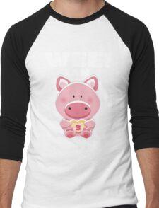 Wee! I am Three (3) - Birthday Girl/Boy Piggy Pig Men's Baseball ¾ T-Shirt