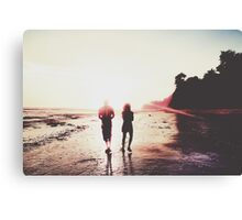 walking on the with sunset light in summer Canvas Print