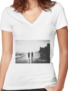 walking on the with sunset light in black and white Women's Fitted V-Neck T-Shirt