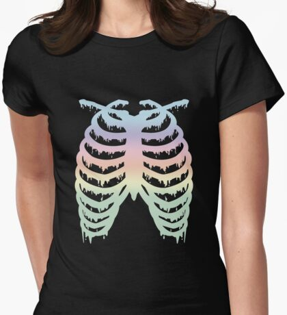 Pastel Rainbow Melty Ribcage Womens Fitted T-Shirt