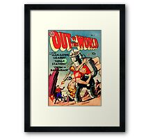 "RETRO sci-fi comic ""That Robot Is Stealing My Girl!"" Framed Print"