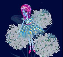 Enigmatic Flower Fairy Blue Art by LeahG by Cartoonistlg