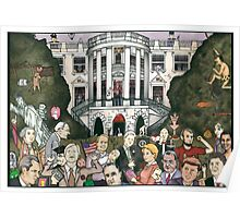 Us presidents at the white house Poster