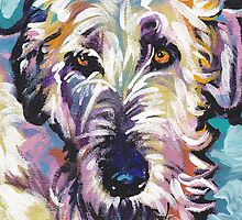 Irish Wolfhound Dog Bright colorful pop dog art by bentnotbroken11
