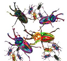 Cool Rainbow Stag Beetle Art by LeahG by Cartoonistlg