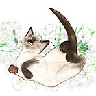 Adorable Siamese Cat Art by LeahG by LeahG Artist