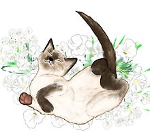 Adorable Siamese Cat Art by LeahG by Cartoonistlg