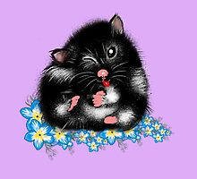 Funny Furry black white Syrian Hamster by LeahG by Cartoonistlg
