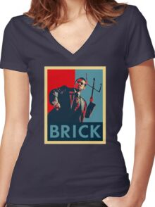 Brick (Obama Style) Women's Fitted V-Neck T-Shirt