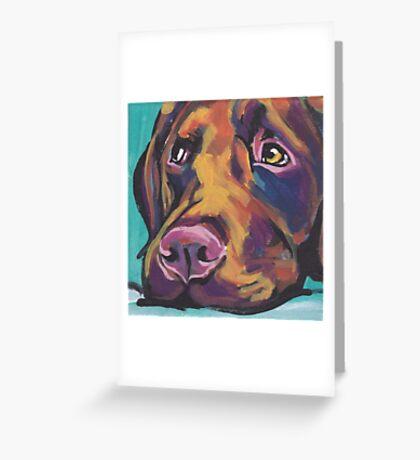 Chocolate Labrador Retriever Dog Bright colorful pop dog art Greeting Card