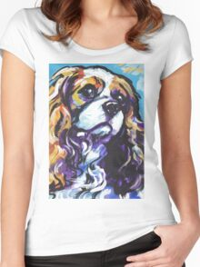 cavalier king charles spaniel Dog Bright colorful pop dog art Women's Fitted Scoop T-Shirt