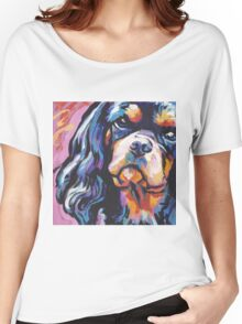 cavalier king charles spaniel Dog Bright colorful pop dog art Women's Relaxed Fit T-Shirt