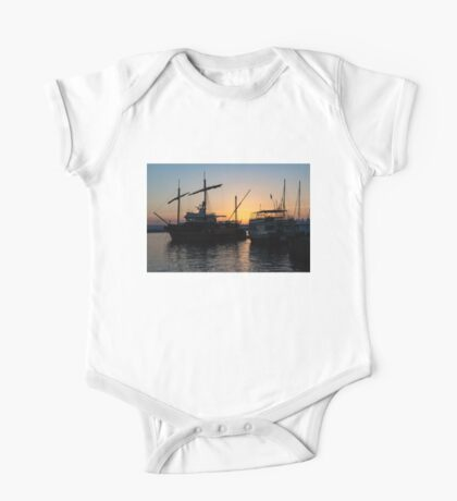 Just a Sliver of the Sun - Antique Tourist Boats in Syracuse Sicily One Piece - Short Sleeve
