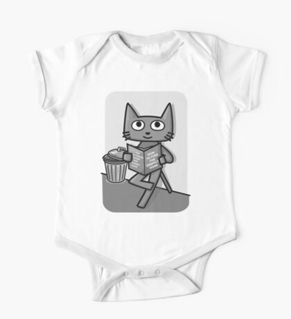 Street Cat Guide Book - black and white One Piece - Short Sleeve