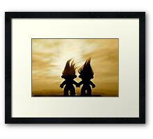 troll lovers in sepia Framed Print
