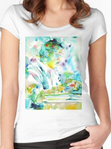 ERNEST HEMINGWAY typewriting - watercolor portrait Women's Fitted Scoop T-Shirt