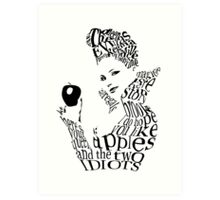 The Evil Queen - Calligram - color WHITE Art Print