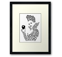 The Evil Queen - Calligram - color WHITE Framed Print