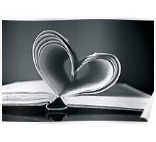 Love heart in black and white Poster