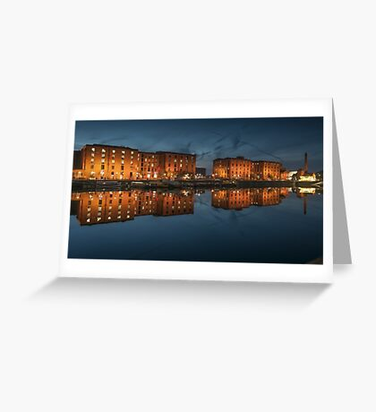 Salthouse Dock Liverpool at night Greeting Card