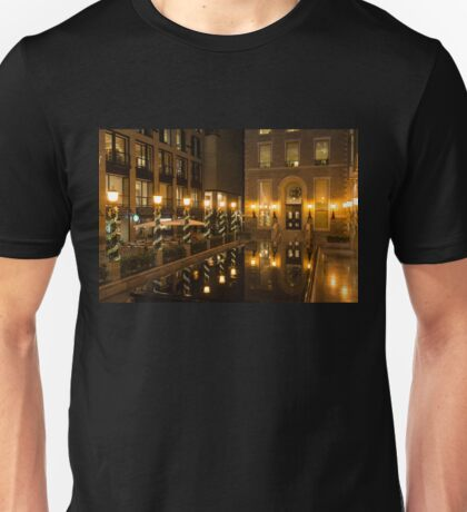 Christmas in Bright Gold - Festive Decorations and Elegant Brass Lamps Reflected in a Fountain Unisex T-Shirt